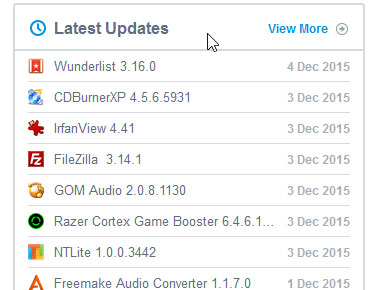 Latest updates of software on front page.